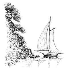 Artistic sketch of sailboat vector image vector image