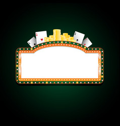 brightly green and orange casino glowing retro vector image