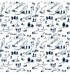 hand drawn seamless pattern winter landscape with vector image vector image
