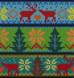 Knitted background with Christmas ornament vector image vector image