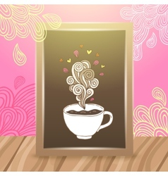Wood frame on the desk with coffee vector image vector image