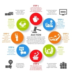 Auction Infographic Set vector image vector image