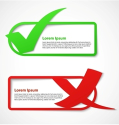 Green and red check mark banners vector image vector image
