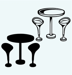 Modern bar table with two chairs vector image