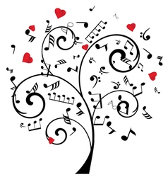 music tree with hearts and notes vector image