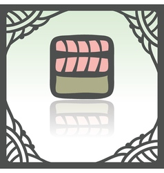 outline sushi rice roll with raw fish meat salmon vector image vector image