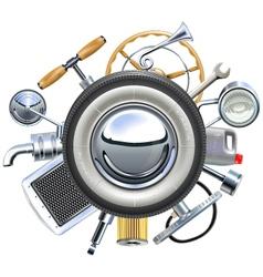 Retro Car Parts Concept vector image