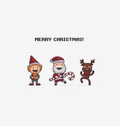 8bit christmas characters vector