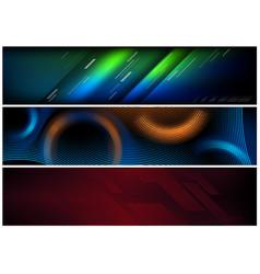Abstract hi-tech futuristic banner set vector