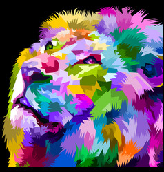 beautiful colorful lion facing up vector image