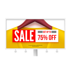 billboard with offer of sale get up to 75 percent vector image
