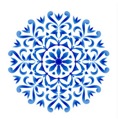 blue and white floral round vector image
