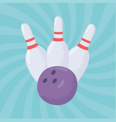 Bowling ball and pin equipment game recreational vector