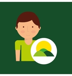 Boy cartoon save earth icon vector