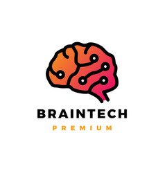 brain technology logo icon vector image