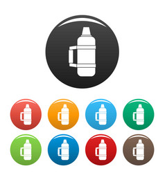 camp thermos icons set color vector image
