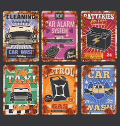 Car service and auto wash posters with rust vector