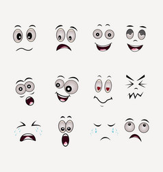 Cartoon faces expressions set on white background vector