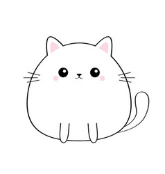 Cat kitty face head body kawaii animal cute vector