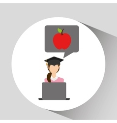 Character graduation apple online education vector