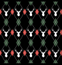 christmas and new year pattern argyle with deers vector image