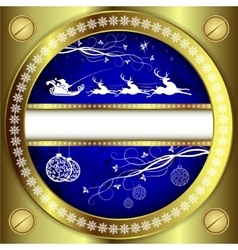 Christmas blue design with a gold border vector