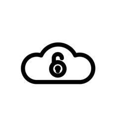 cloud storage unlocked on white background icon vector image