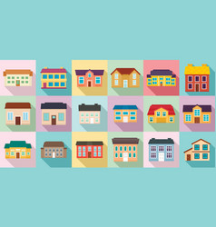 Cottage icons set flat style vector
