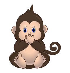 cute little monkey sits and closes his mouth vector image