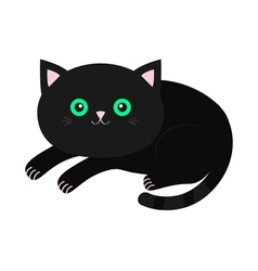 Cute lying black cartoon cat with moustache vector