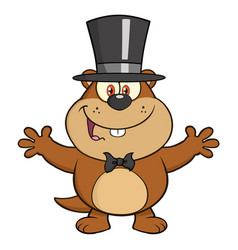 cute marmot character with open arms vector image