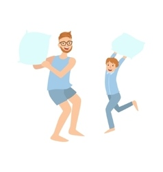 Dad And Son Pillow Fighting In Pajamas vector image