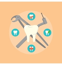 Dental instruments crosswise on color background vector image