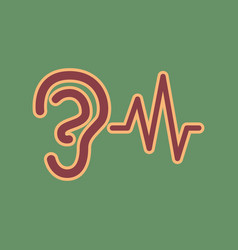 Ear hearing sound sign cordovan icon and vector