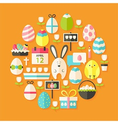 Easter Flat stylized Icons Set circular shaped vector