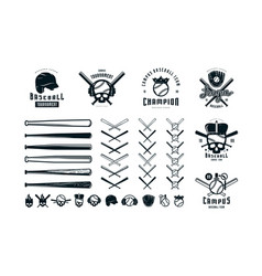 emblems and badges set campus baseball team vector image