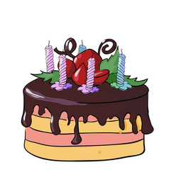 festive chocolate cake with candles vector image