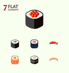 Flat icon salmon set of sushi maki japanese food vector
