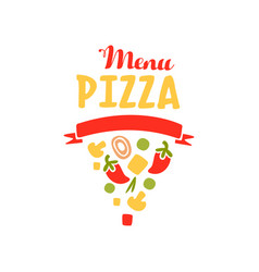 flat vegetable pizza slice shape logo for pizzeria vector image