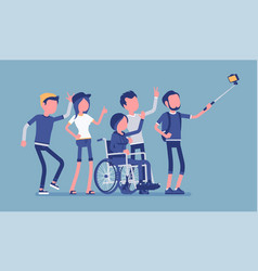 group selfie and young people vector image