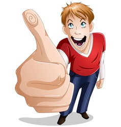 Guy Smiles With Thumbs Up vector