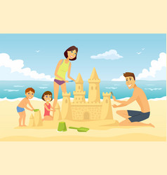 happy family on vacation - cartoon people vector image