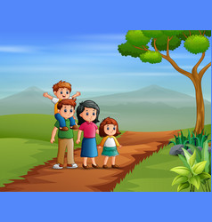 Happy family walking on hill vector
