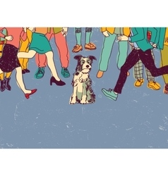 Homeless poor dog on street crowd people vector image