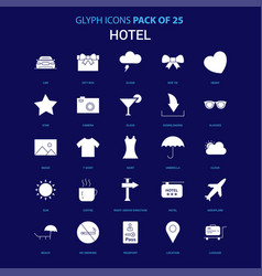 hotel white icon over blue background 25 icon pack vector image