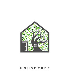 house tree template vector image