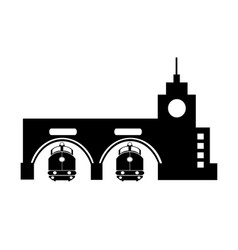 industrial building facility silhouetted urban vector image