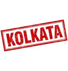 Kolkata red square grunge stamp on white vector