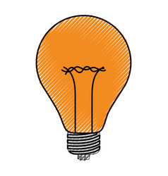 light bulb icon in colored crayon silhouette vector image