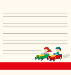 line paper template with kids in racing cars vector image